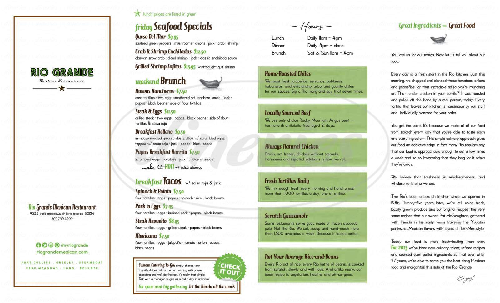 menu for The Rio Grande Mexican Restaurant