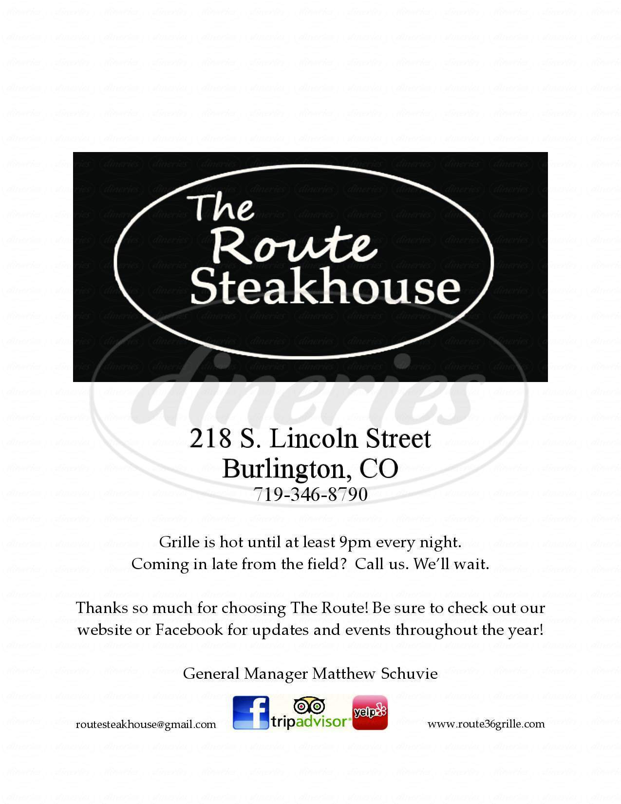 menu for The Route Steakhouse