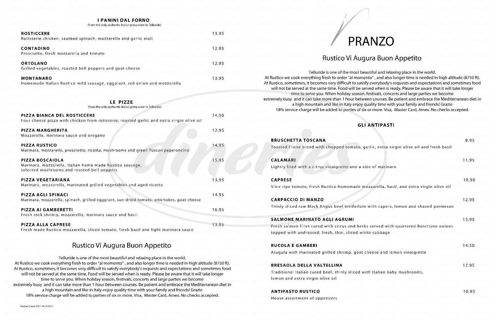 menu for Rustico Ristorante