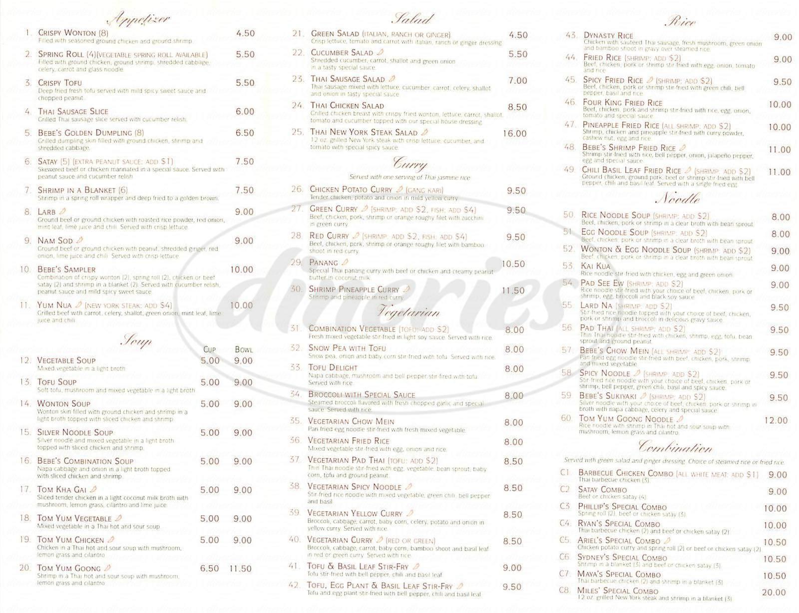menu for Bebes Cafe