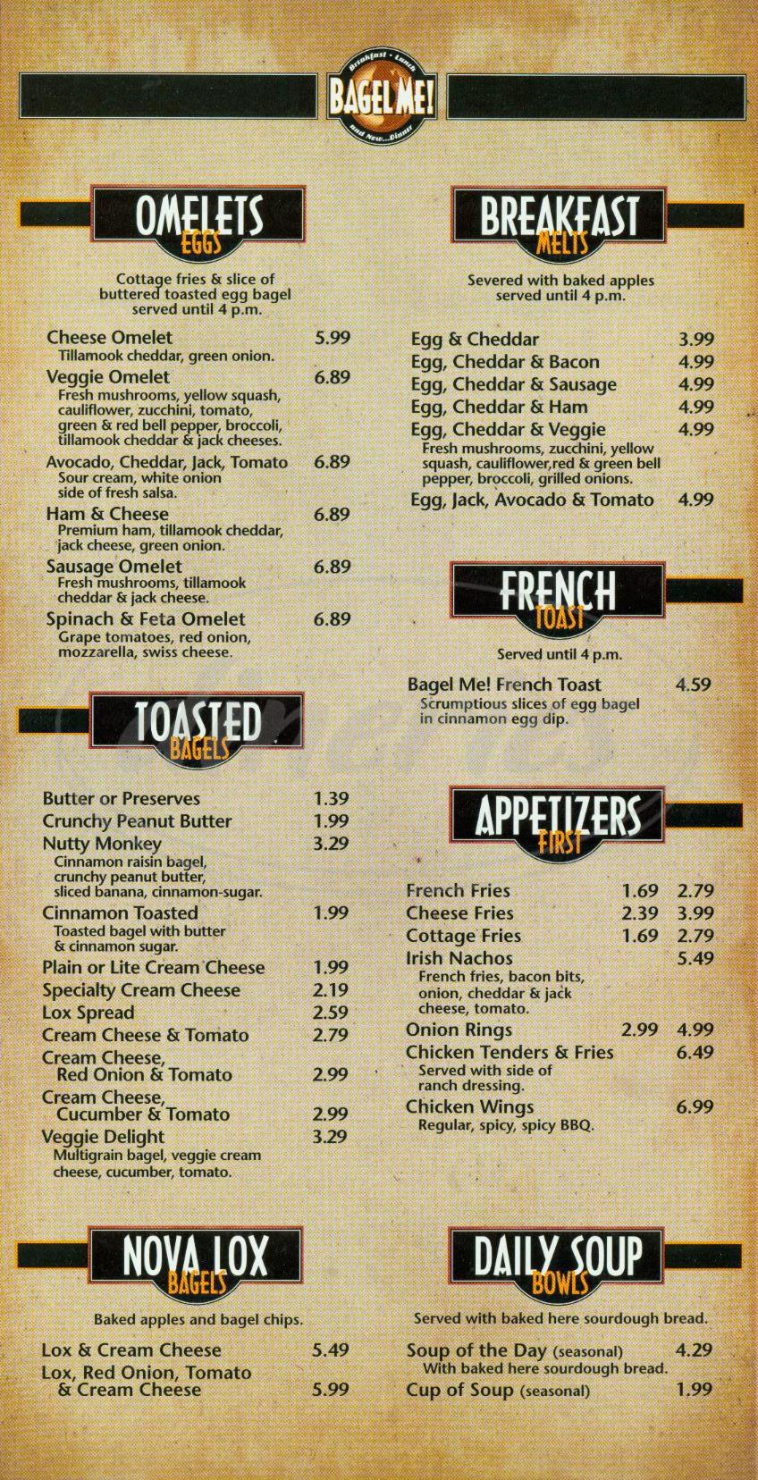 menu for Bagel Me