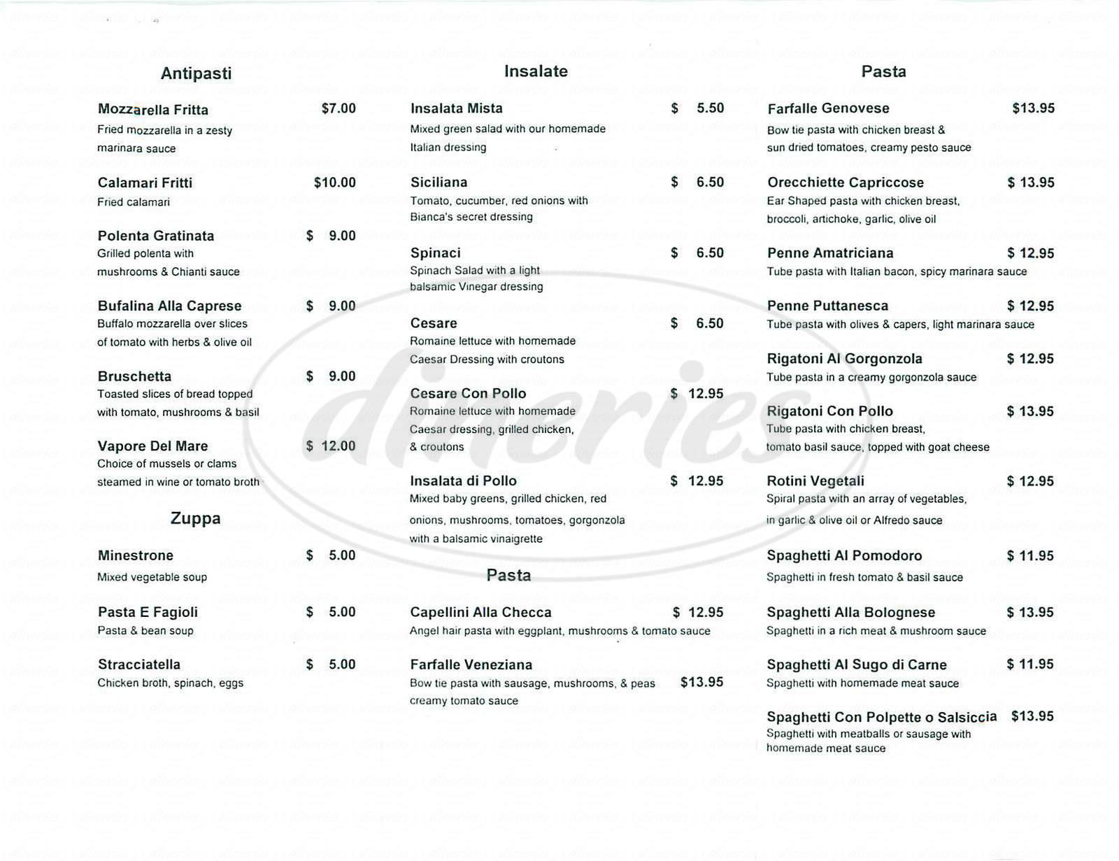 menu for Da Bianca Trattoria