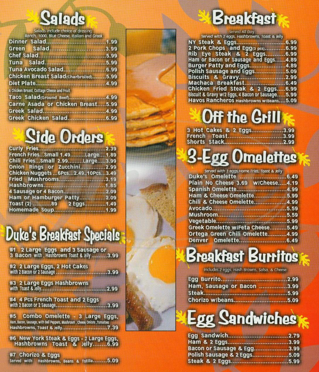 menu for Dukes Charbroiler