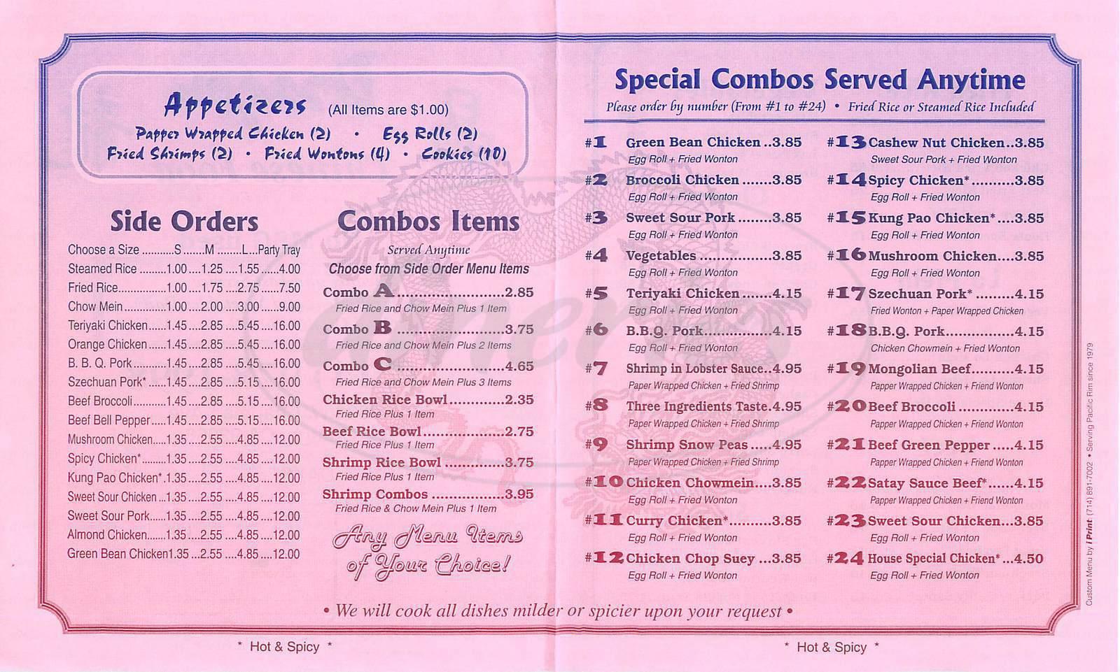 Dragon chinese food menu orange dineries for Asia cuisine menu