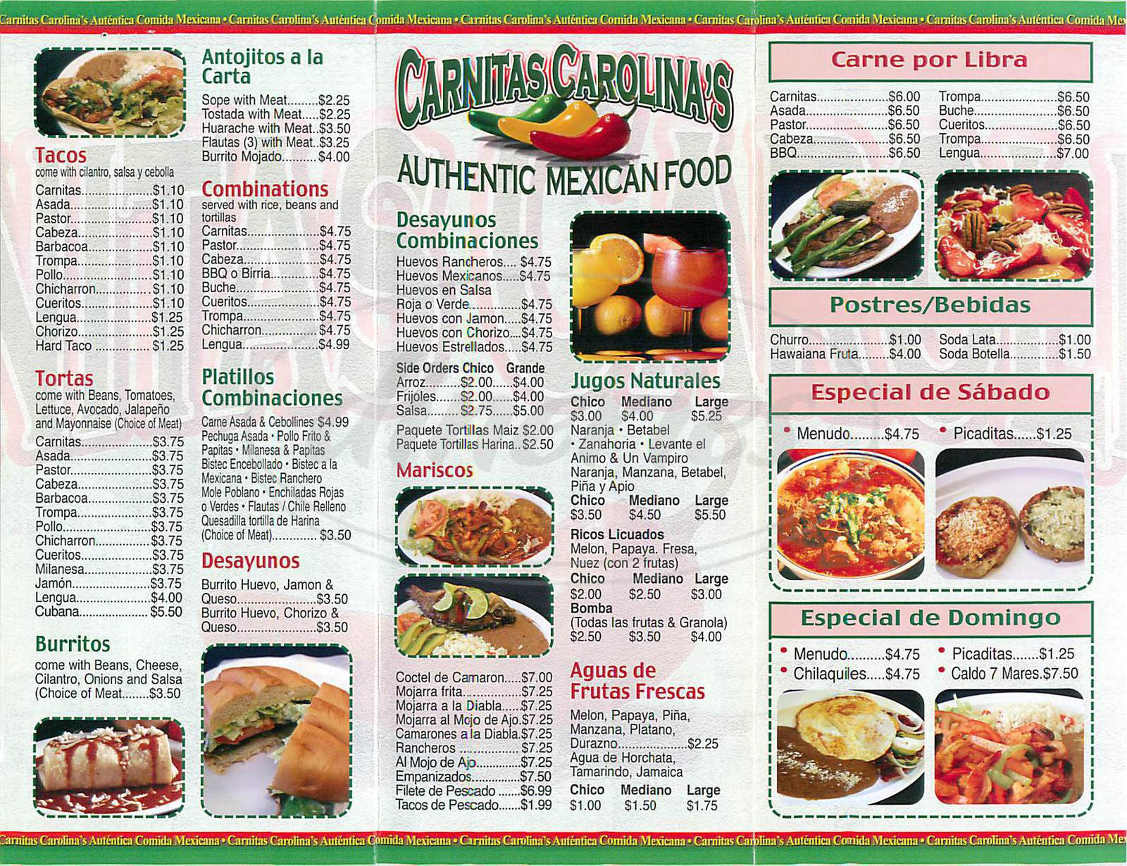 menu for Carnitas Carolina's