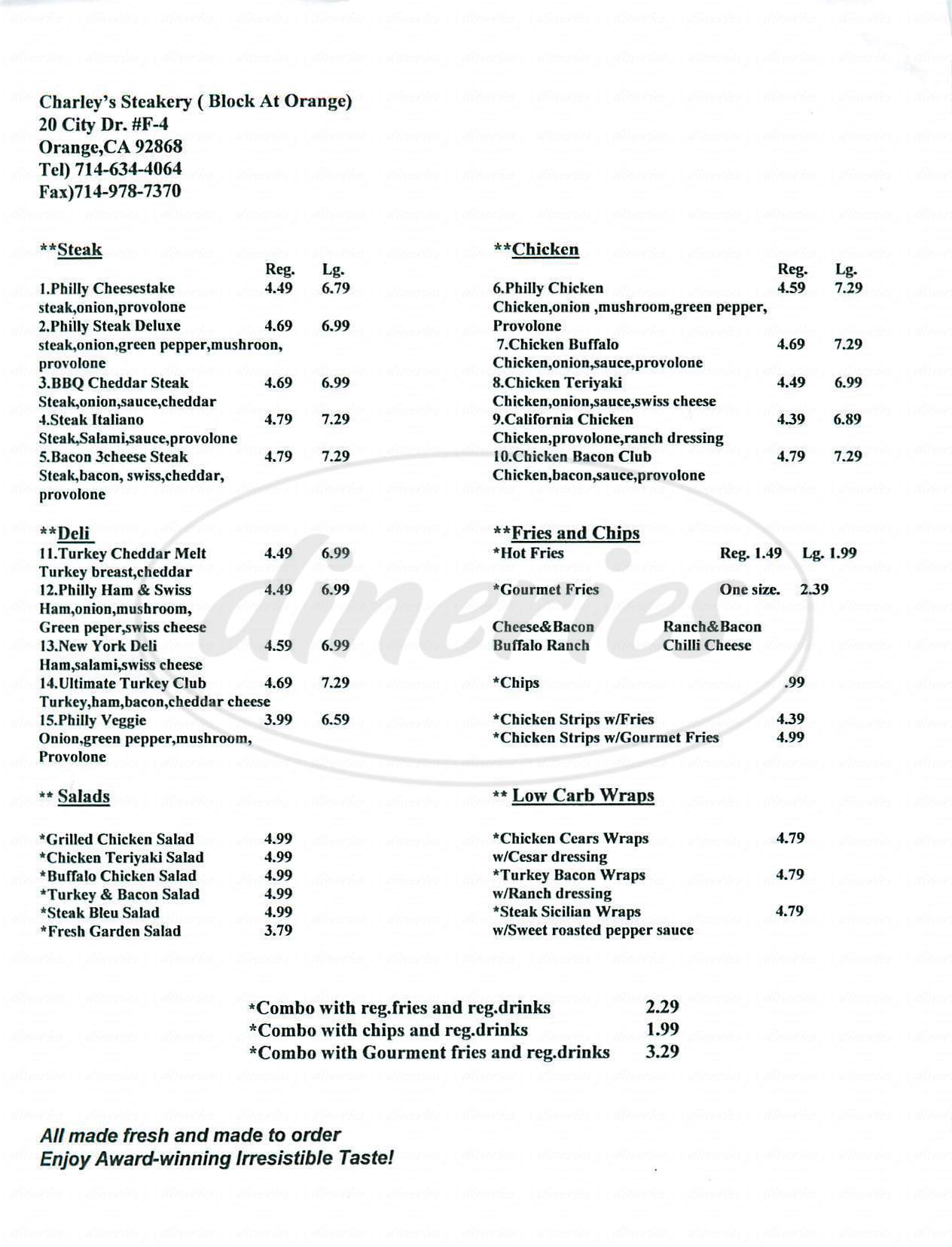 menu for Charleys Steakery