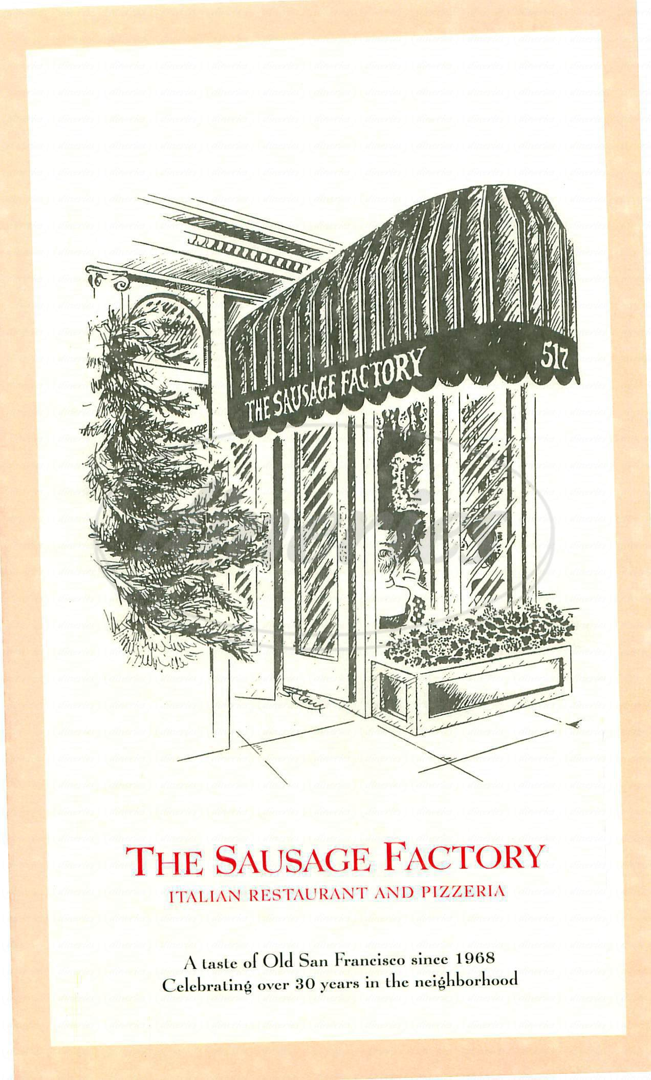menu for The Sausage Factory