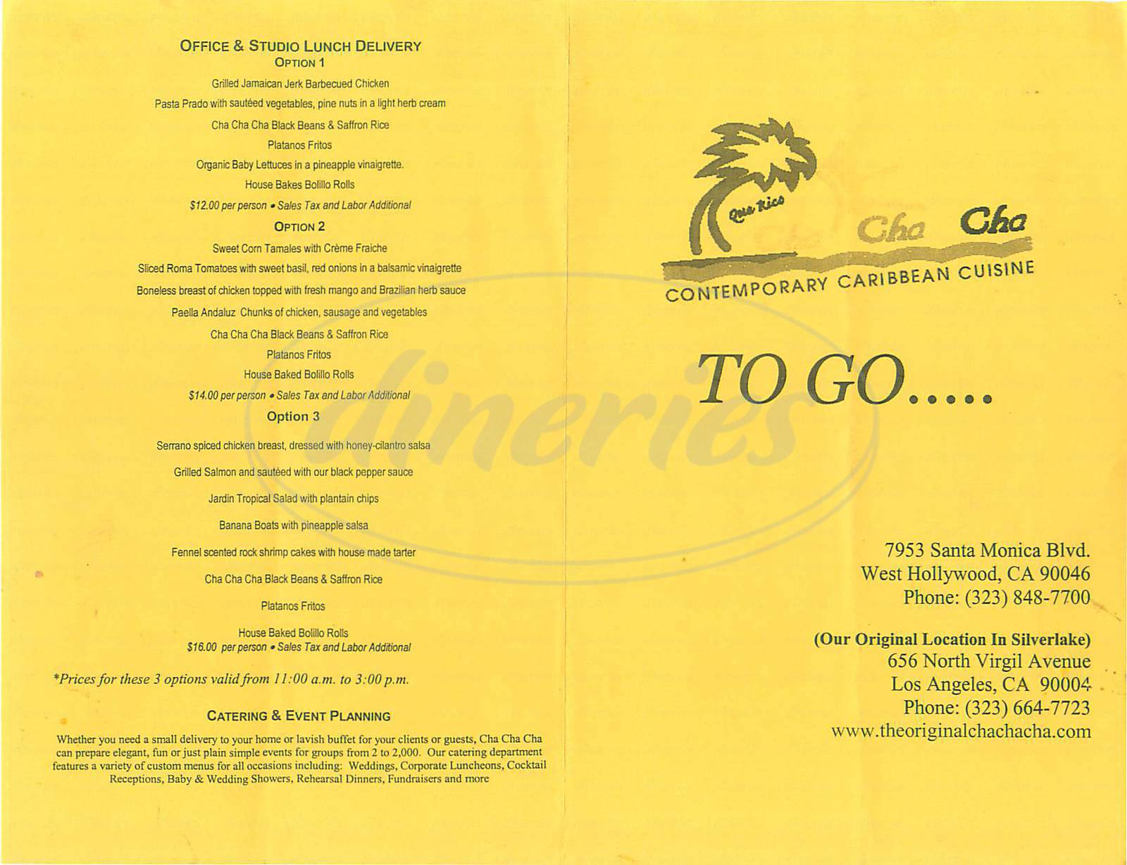 menu for Cha Cha Cha Caribbean Cuisine