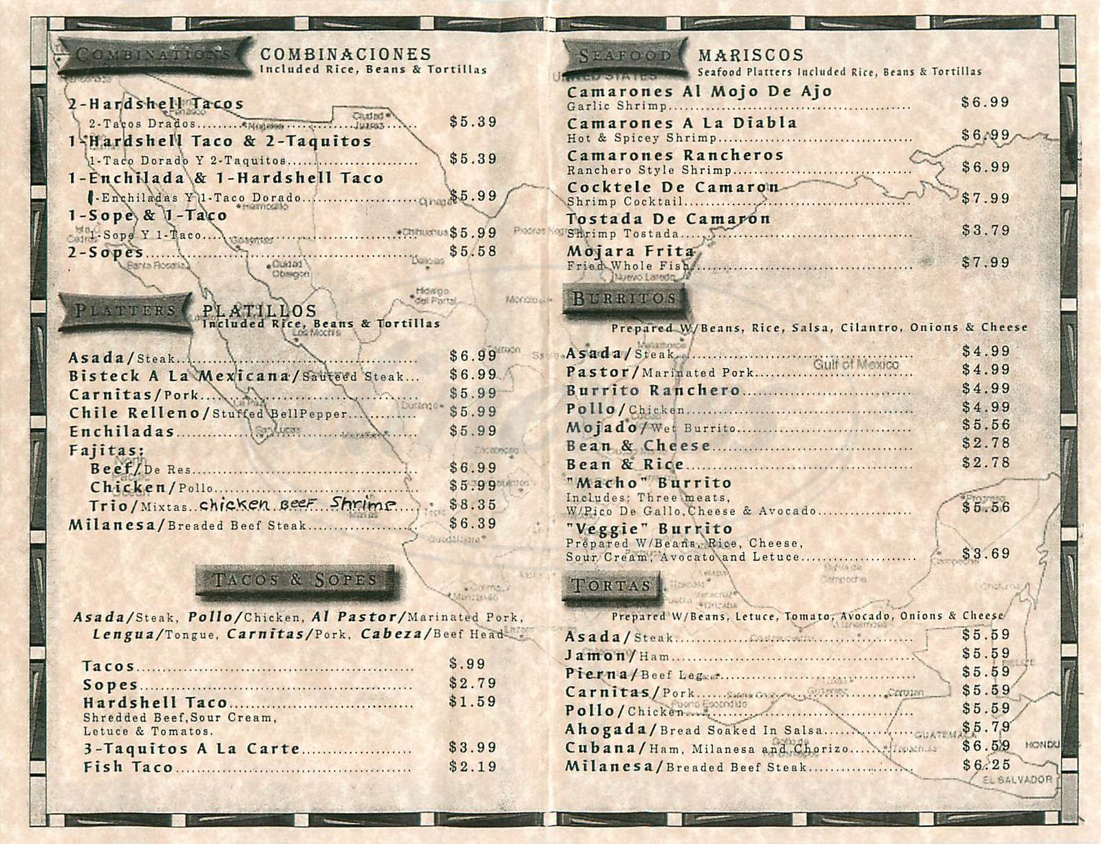 menu for Taqueria Camacho's