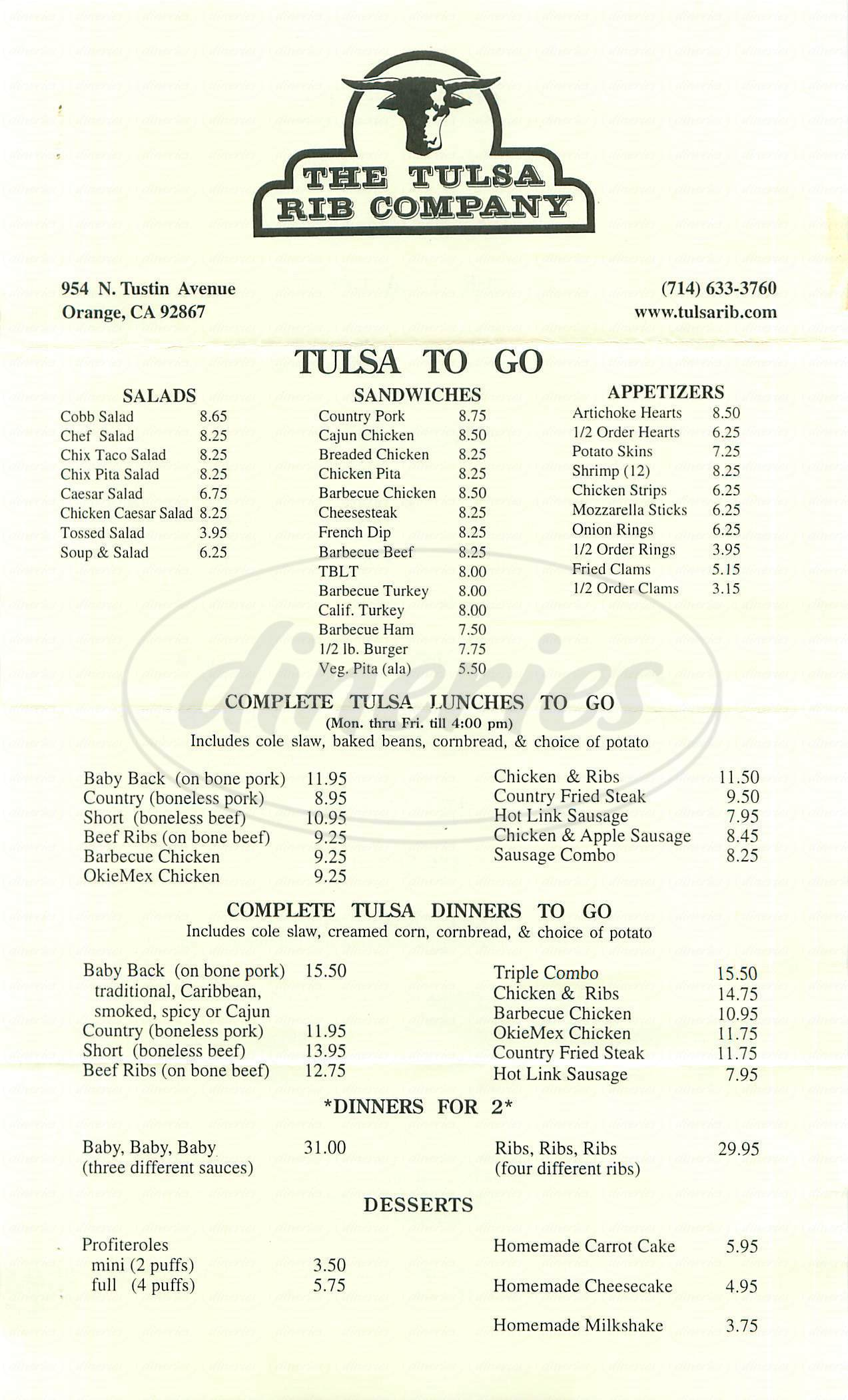 menu for The Tulsa Rib Company