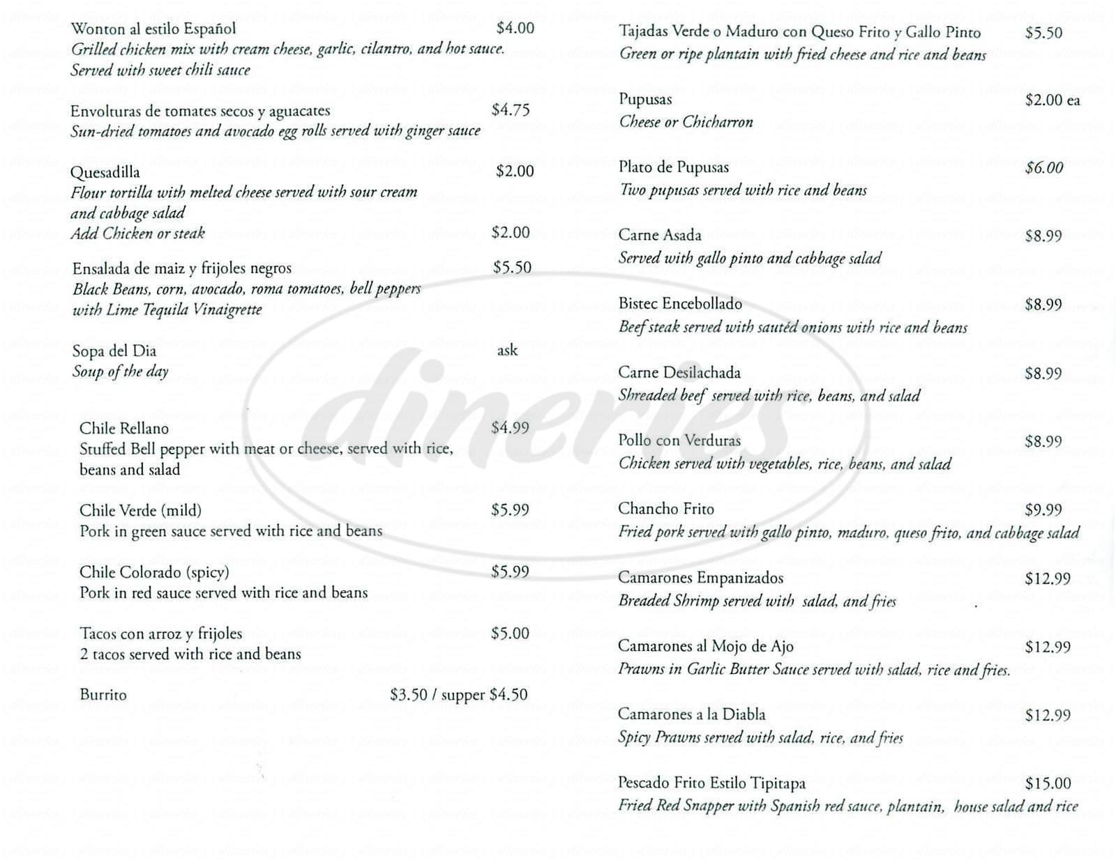 menu for Al Fin