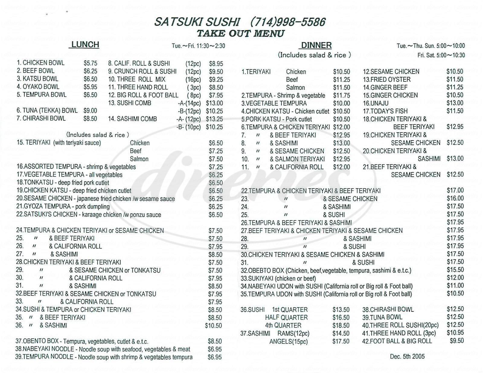 menu for Satsuki Sushi