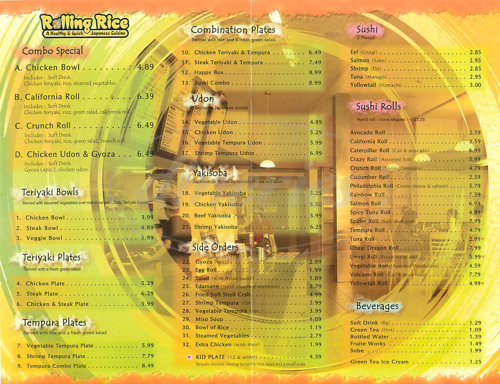 menu for Rolling Rice