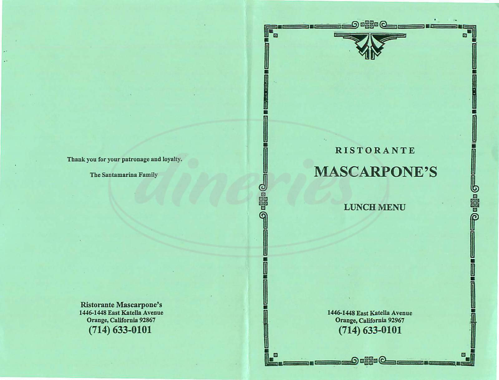 menu for Mascarpones