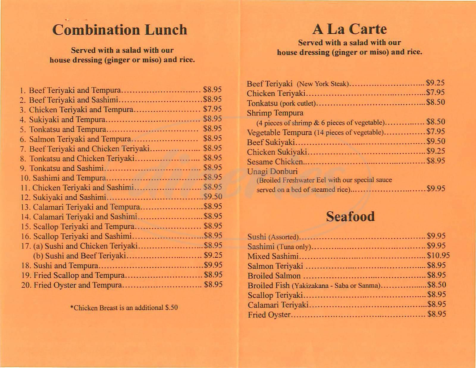 menu for Shiki Restaurant