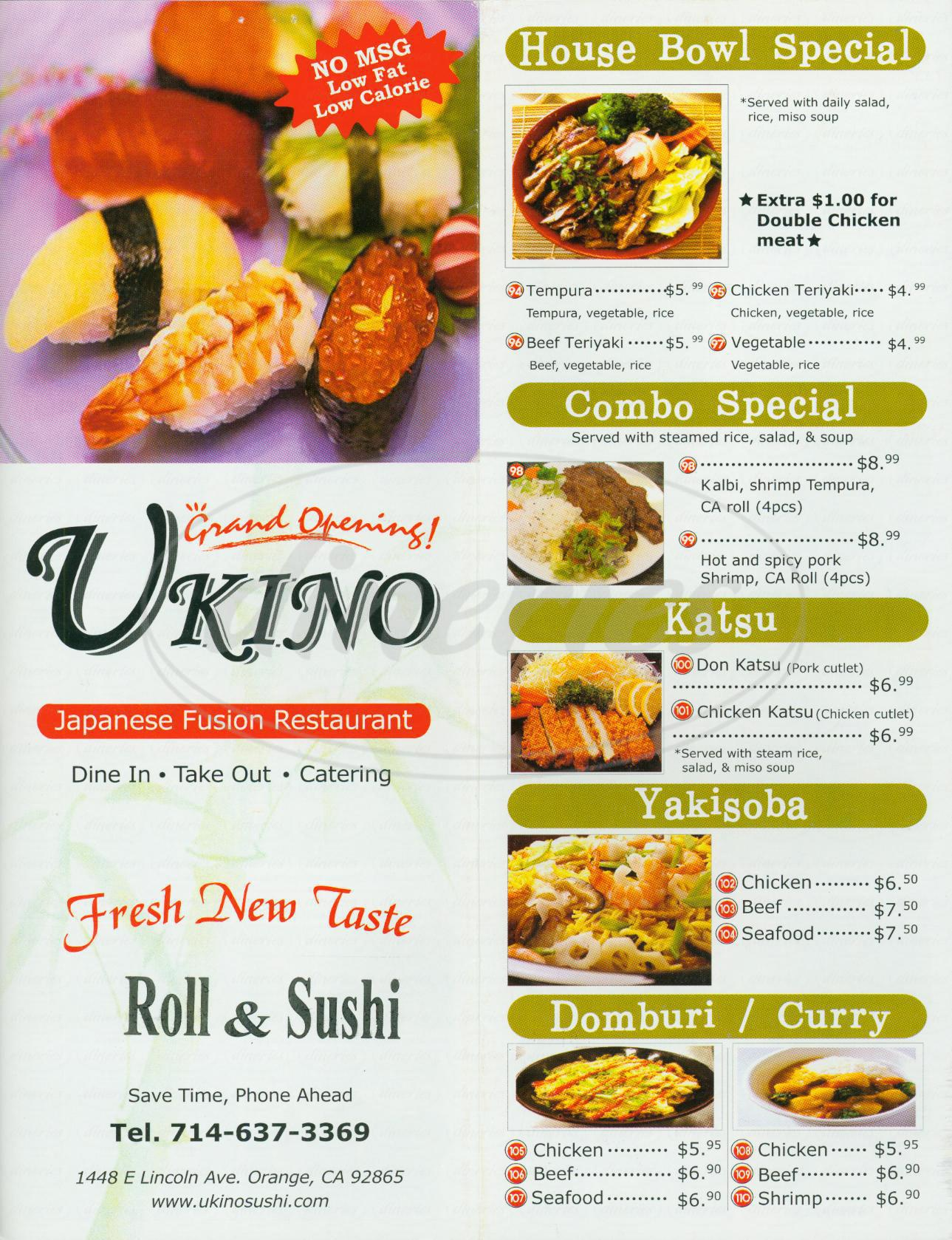 menu for Ukino Roll & Sushi