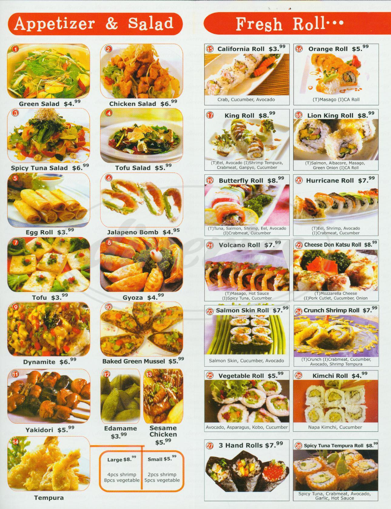 menu for Ukino Roll & Sushi
