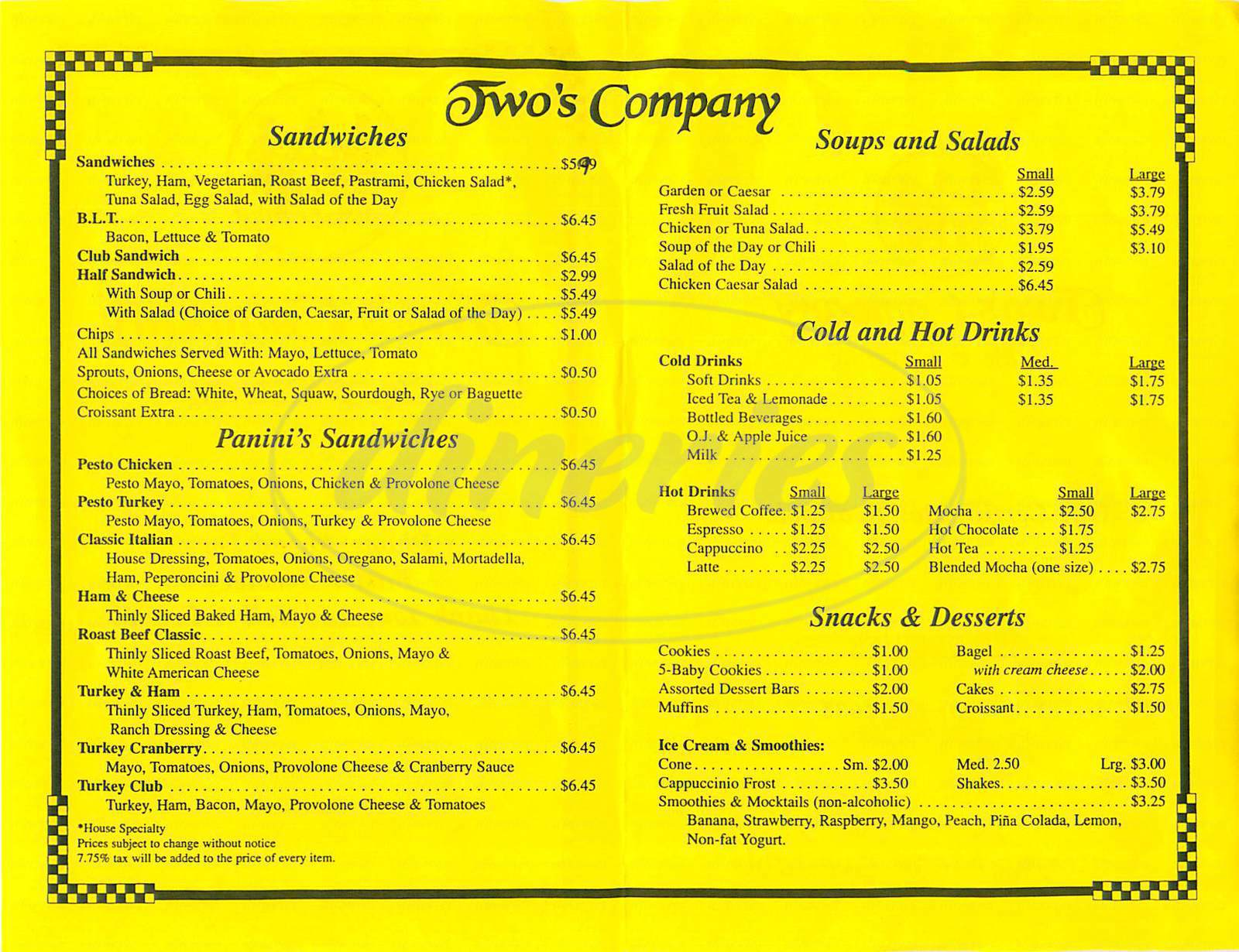 menu for Twos Company