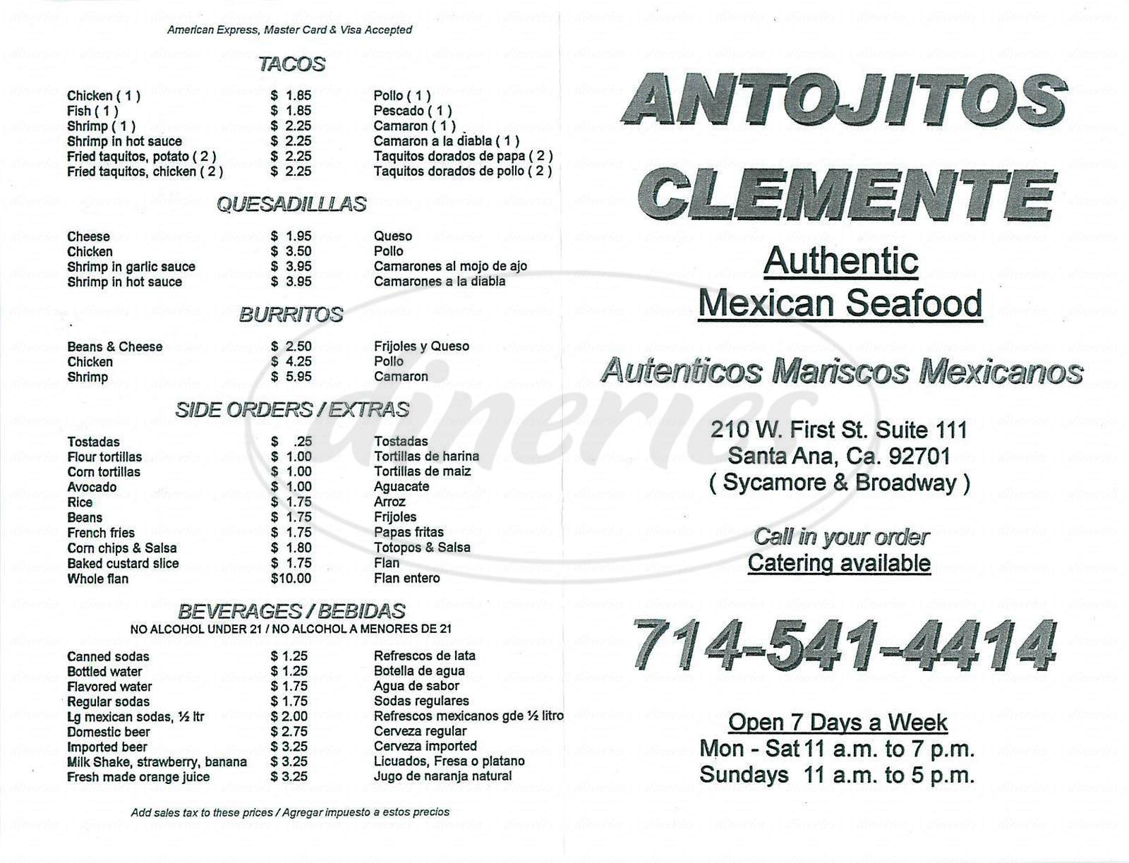 menu for Antojitos Clemente