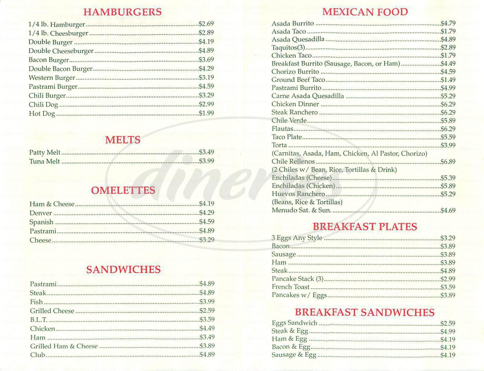 menu for J's Burgers