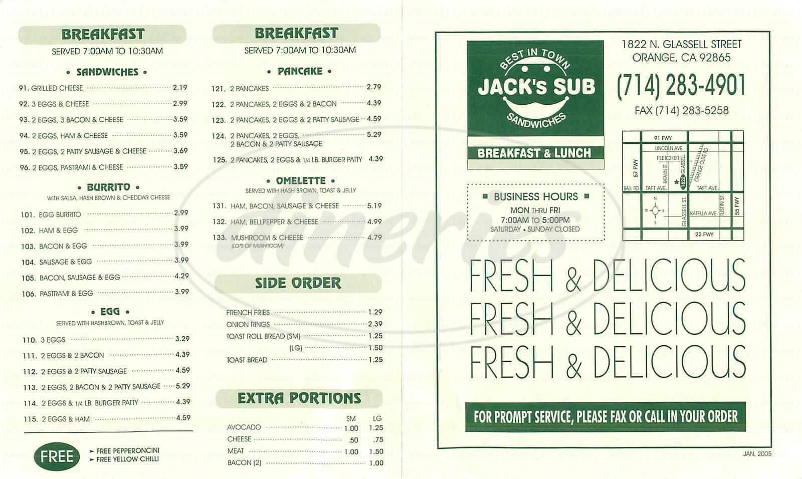 menu for Jack's Sub