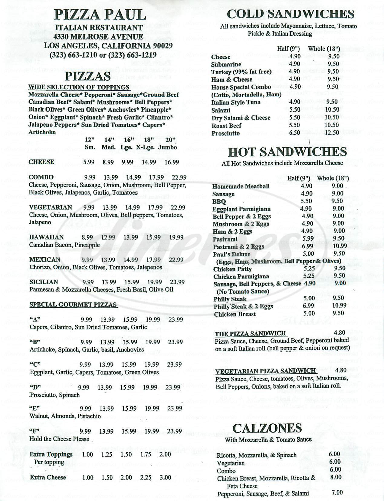 menu for Pizza Paul