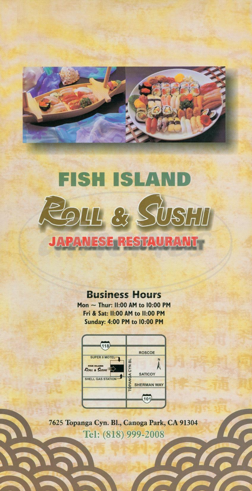 menu for Fish Island
