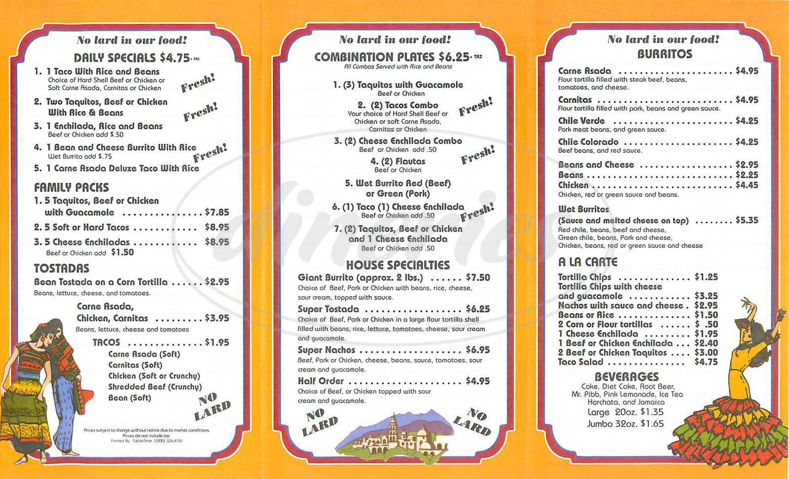 menu for Hacienda Flores Mexican Food