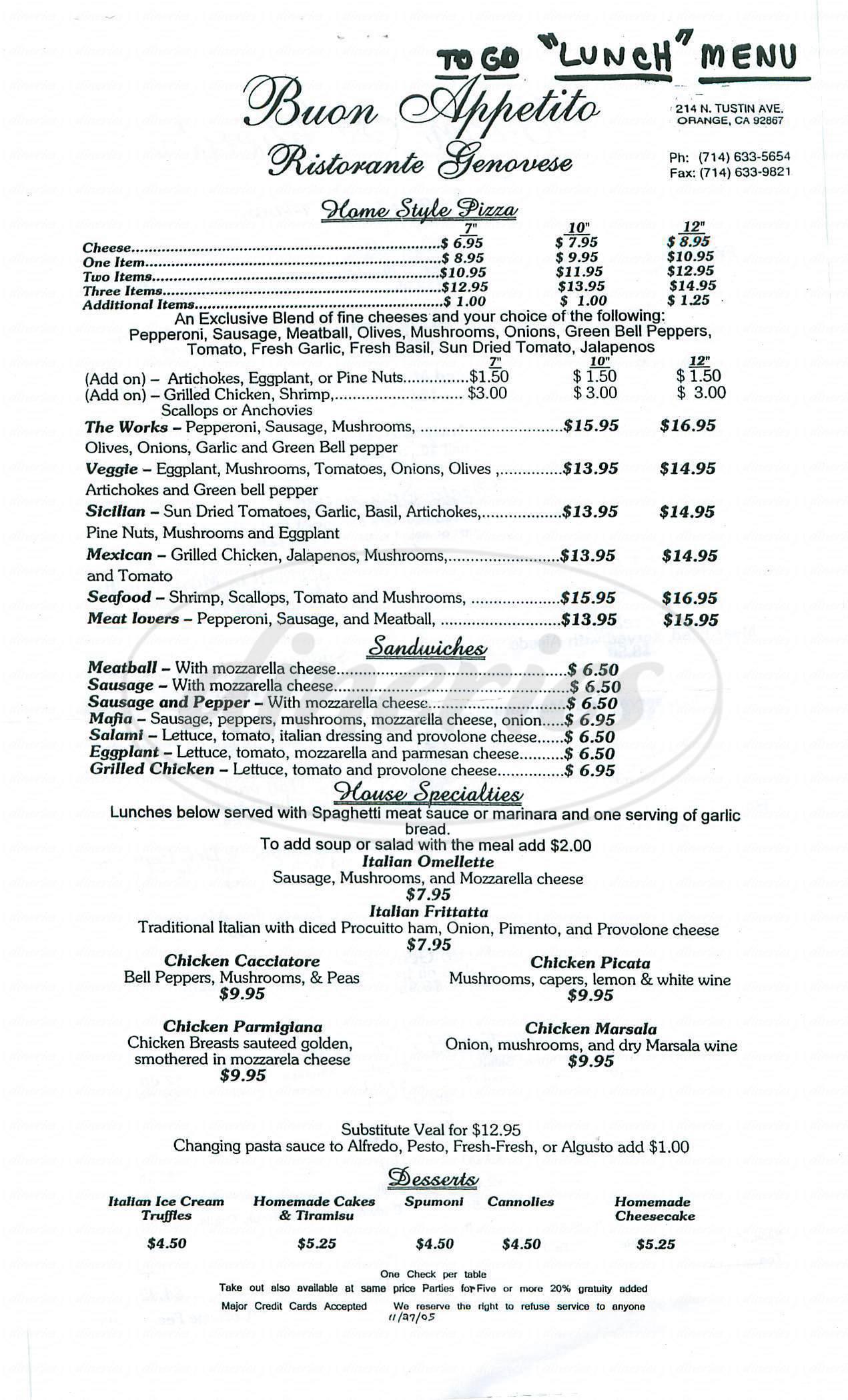 menu for Ristoranti Genovese