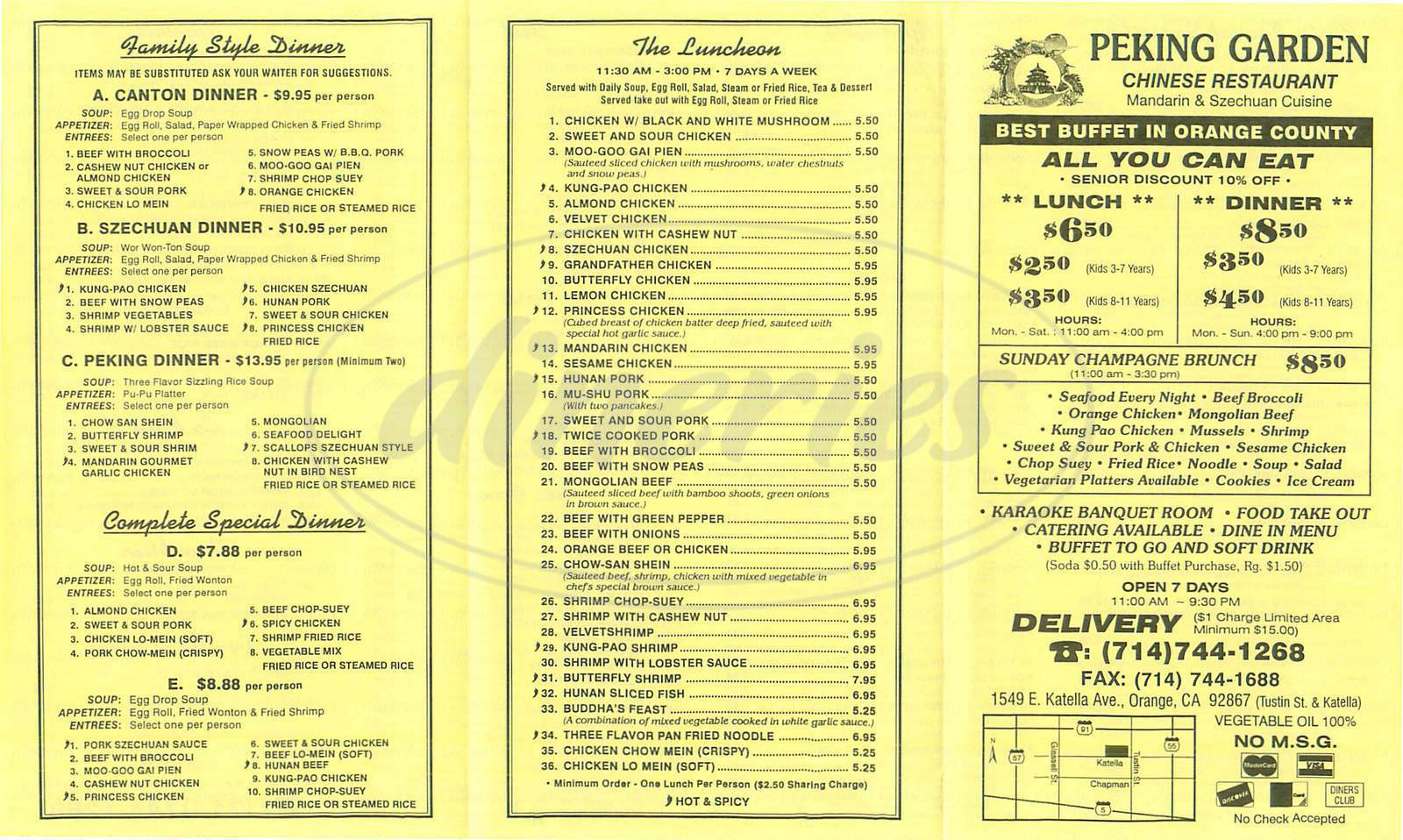 menu for Peking Garden Restaurant