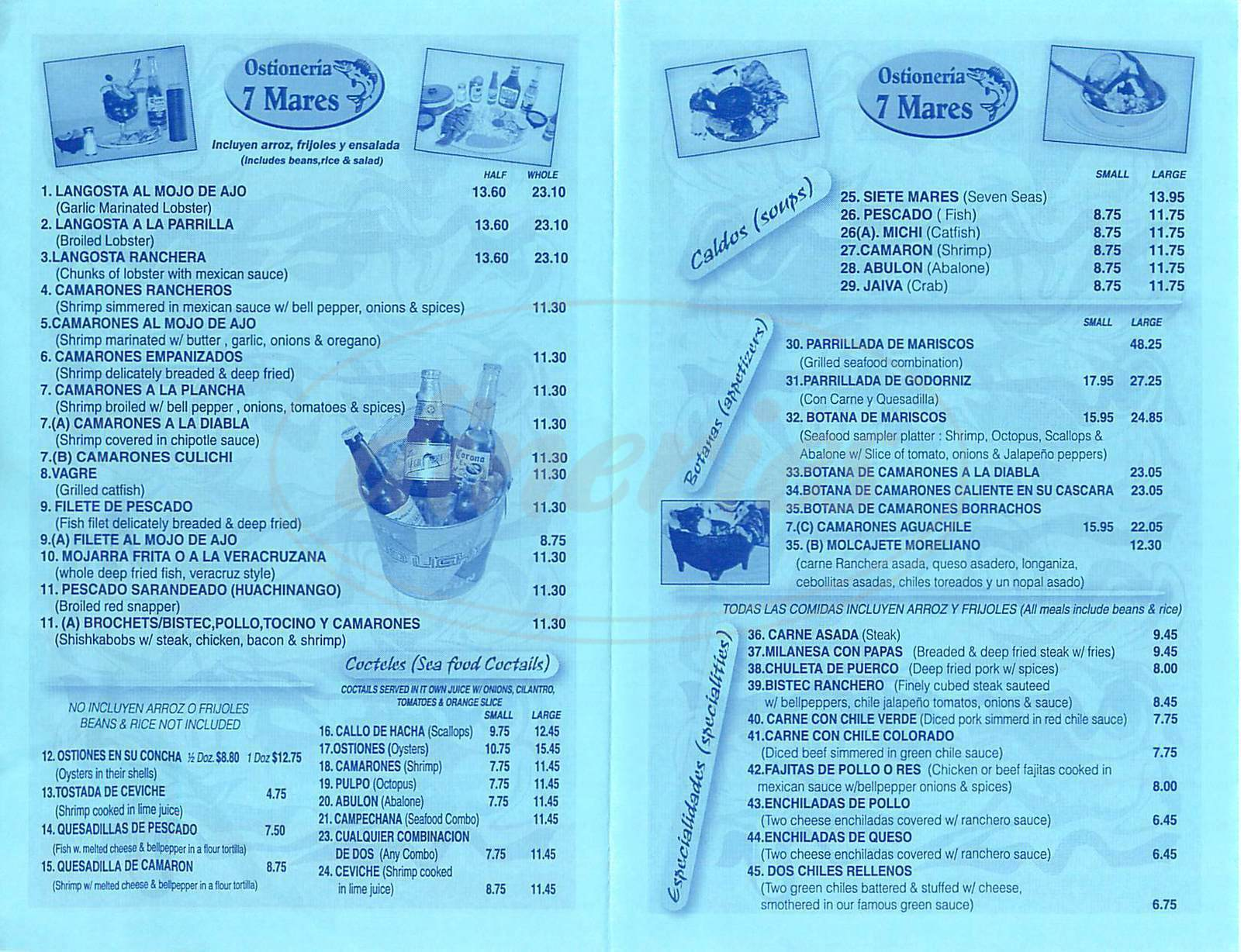 menu for Ostioneria Siete Mares