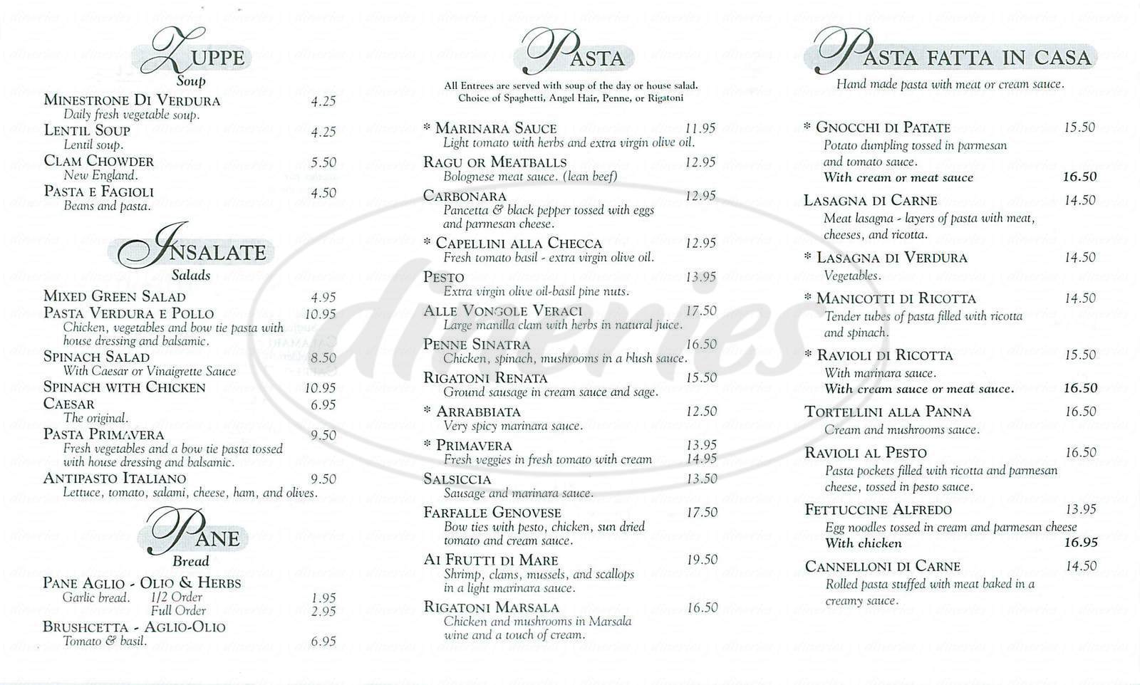 menu for Renatas Cafe Italiano