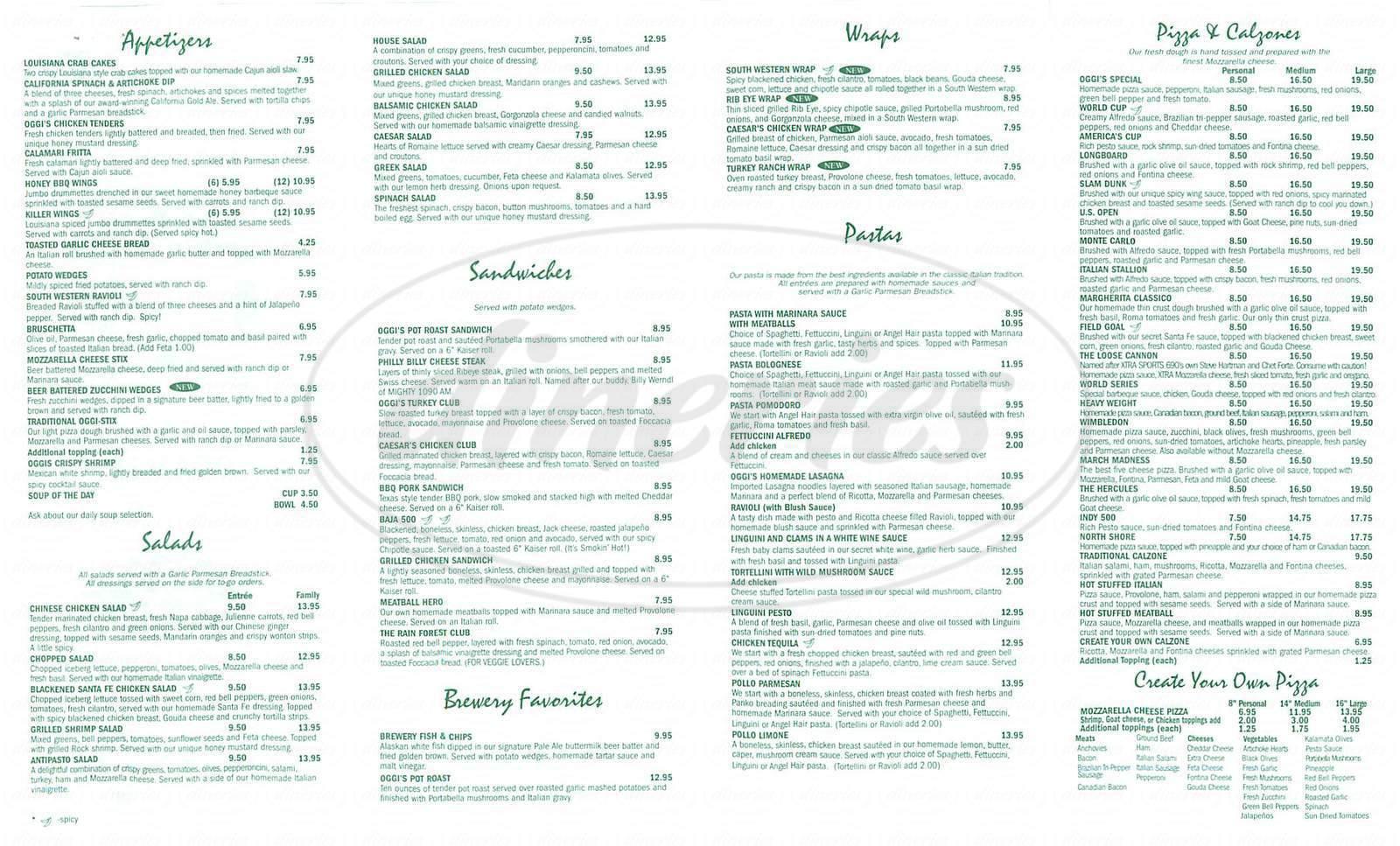 menu for Oggi's Pizza & Brewing Company