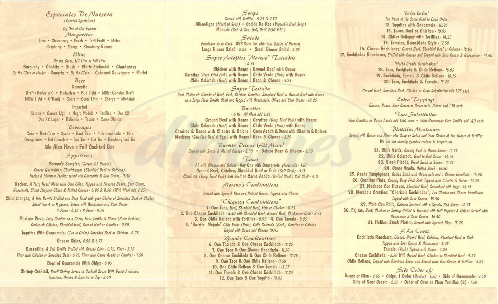 menu for Moreno's Restaurant
