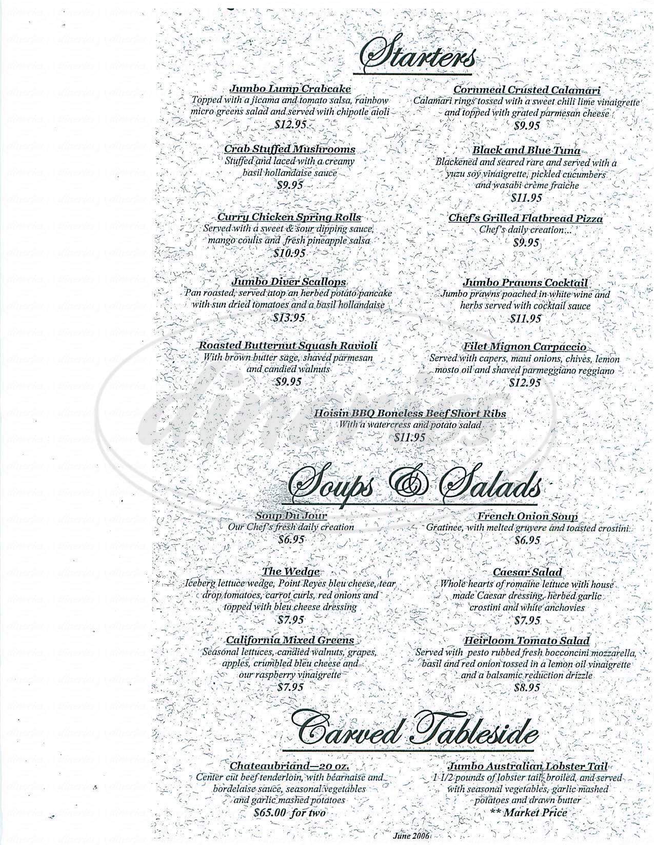 menu for Orange Hill Restaurant