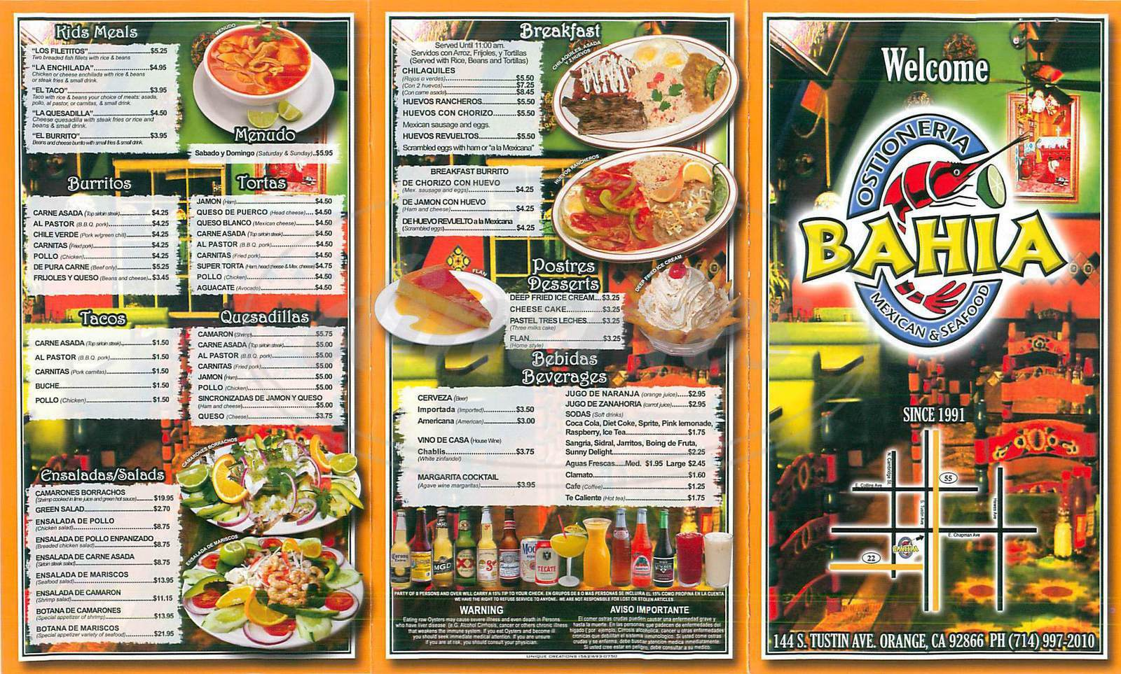 menu for Ostioneria Bahia Mexican Seafood