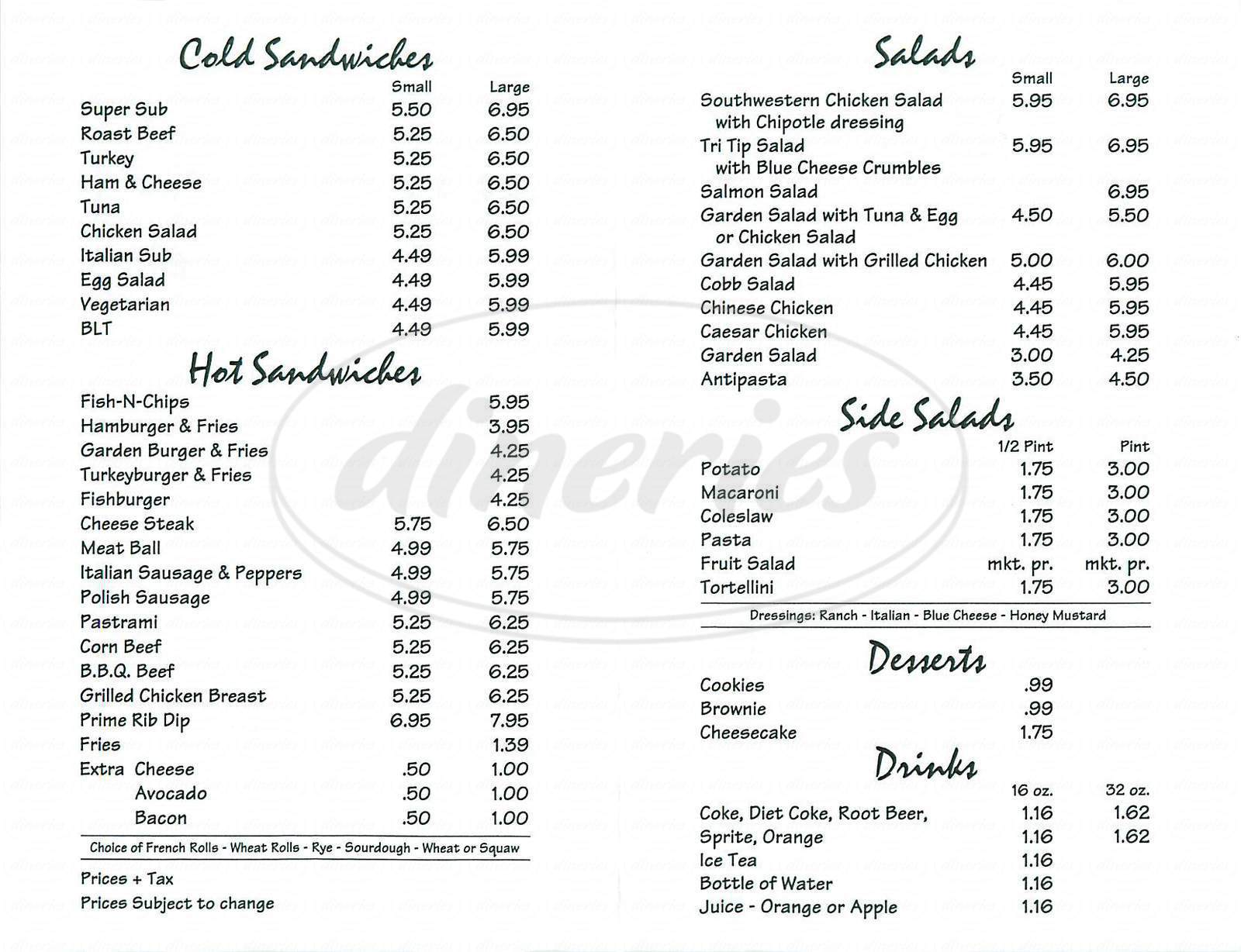 menu for Orange Tree Deli