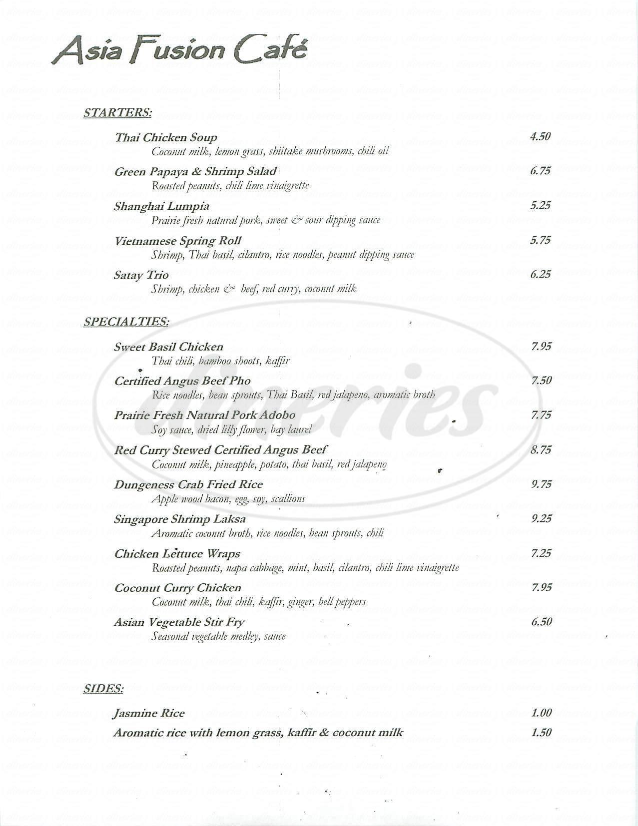 menu for Asia Fusion Café