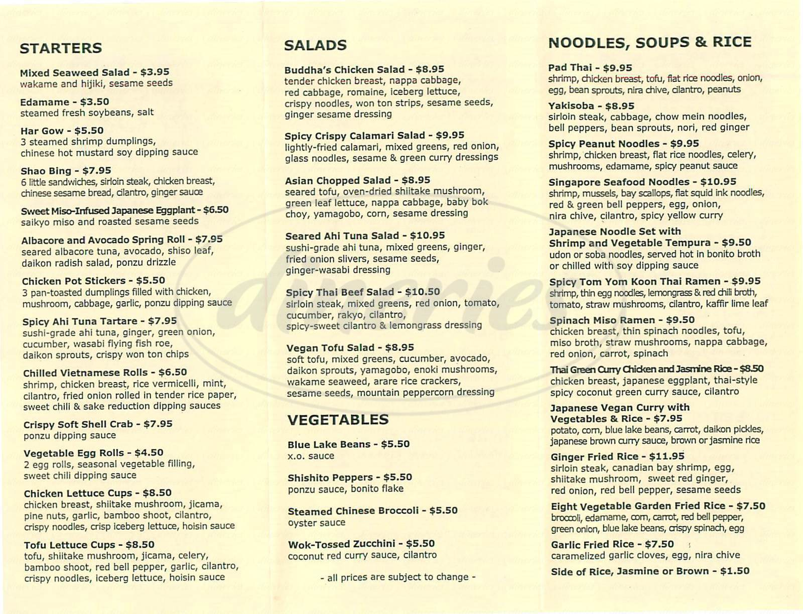 menu for Buddhas Belly Restaurant