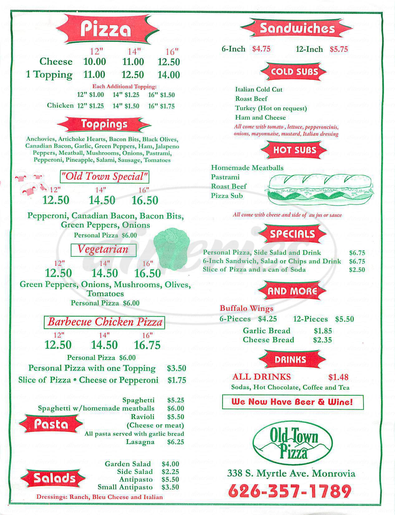 menu for Old Town Pizza