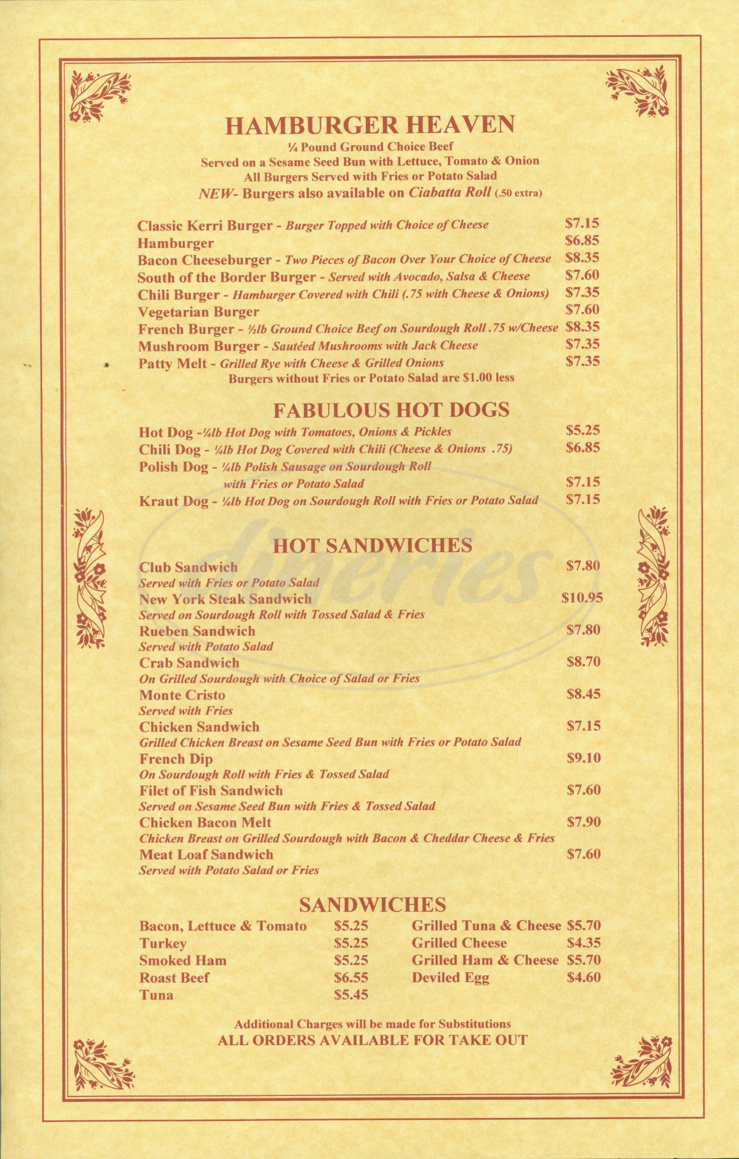 menu for Kerris Coffee Shop