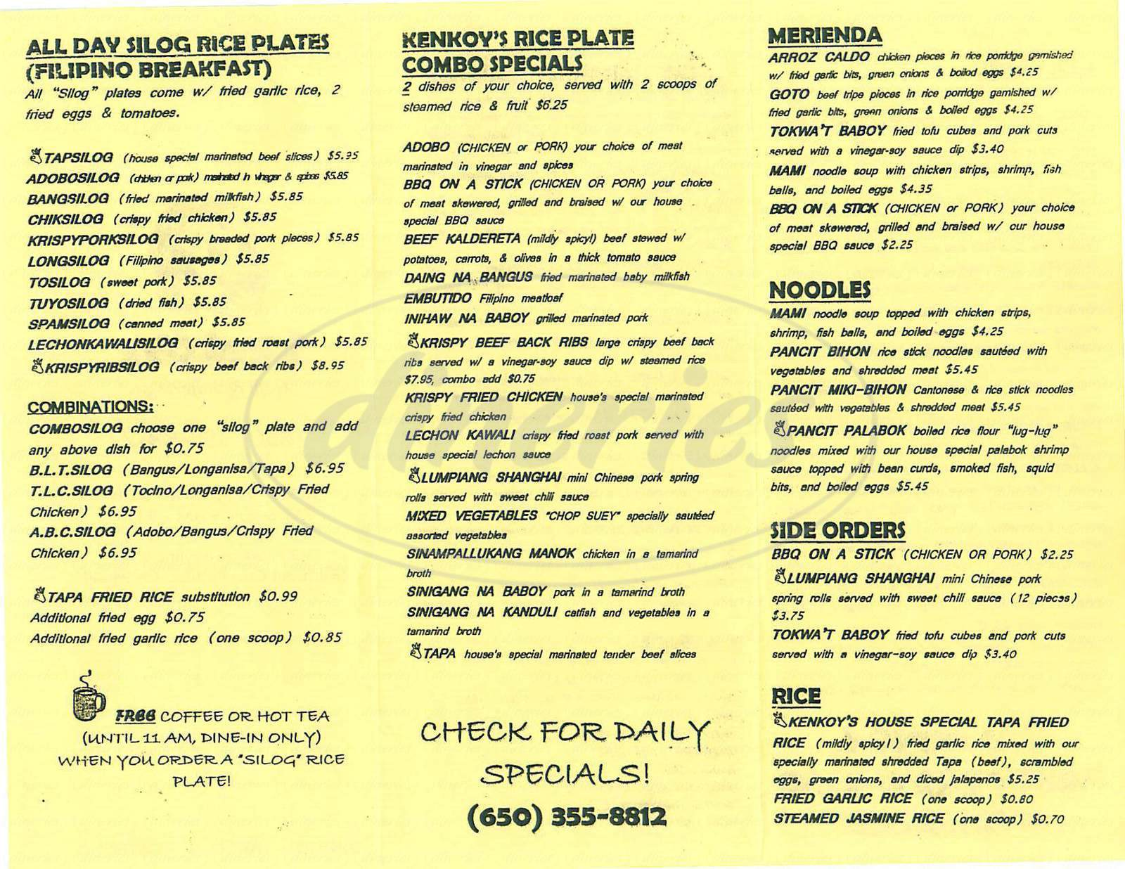 menu for Kenkoys Cafe