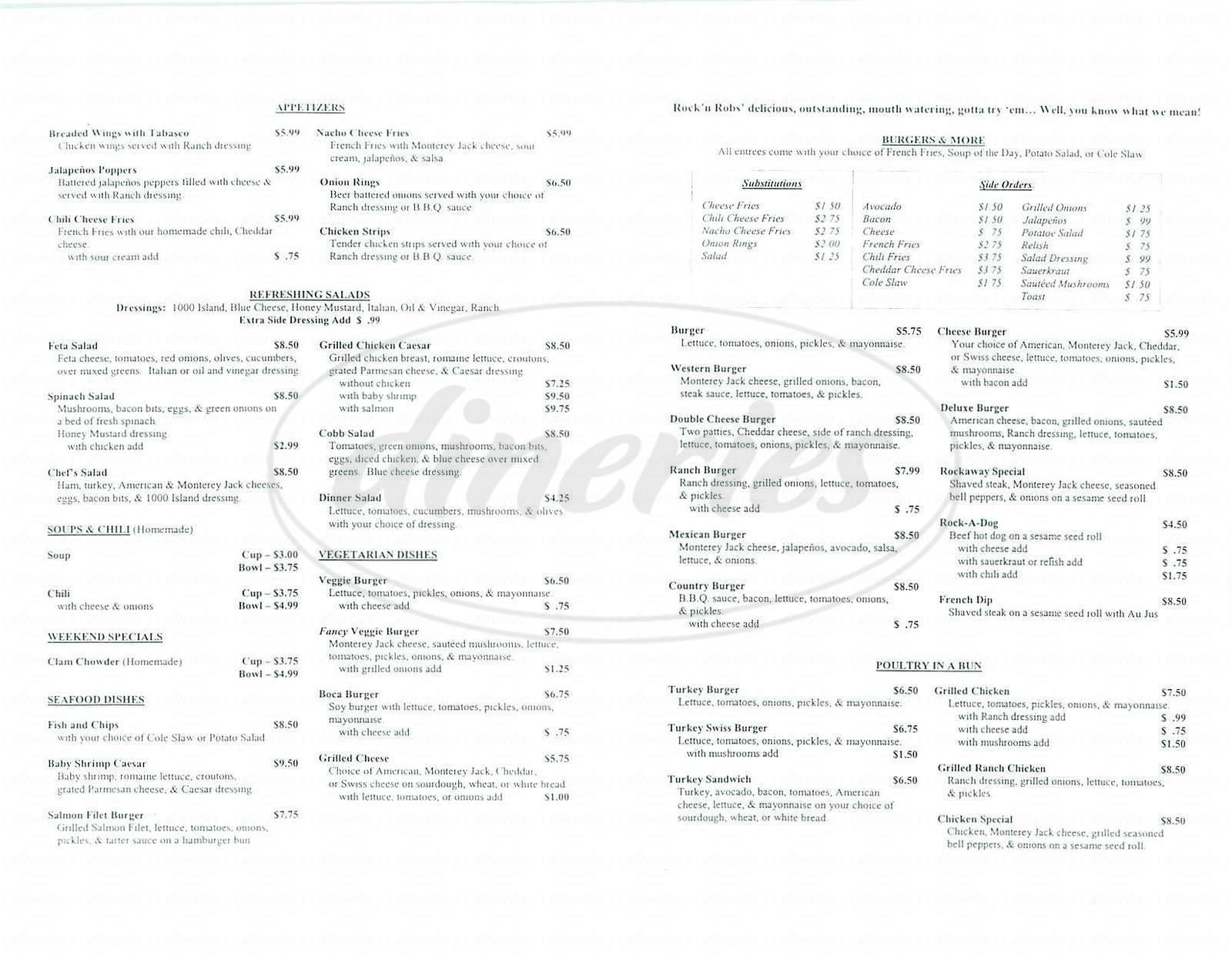menu for Rock' N Robs