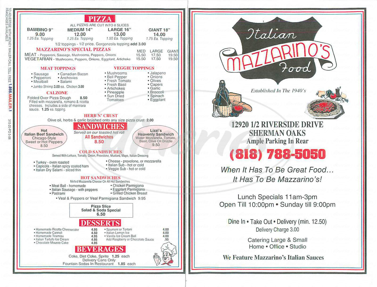 menu for Mazzarino's Italian Food