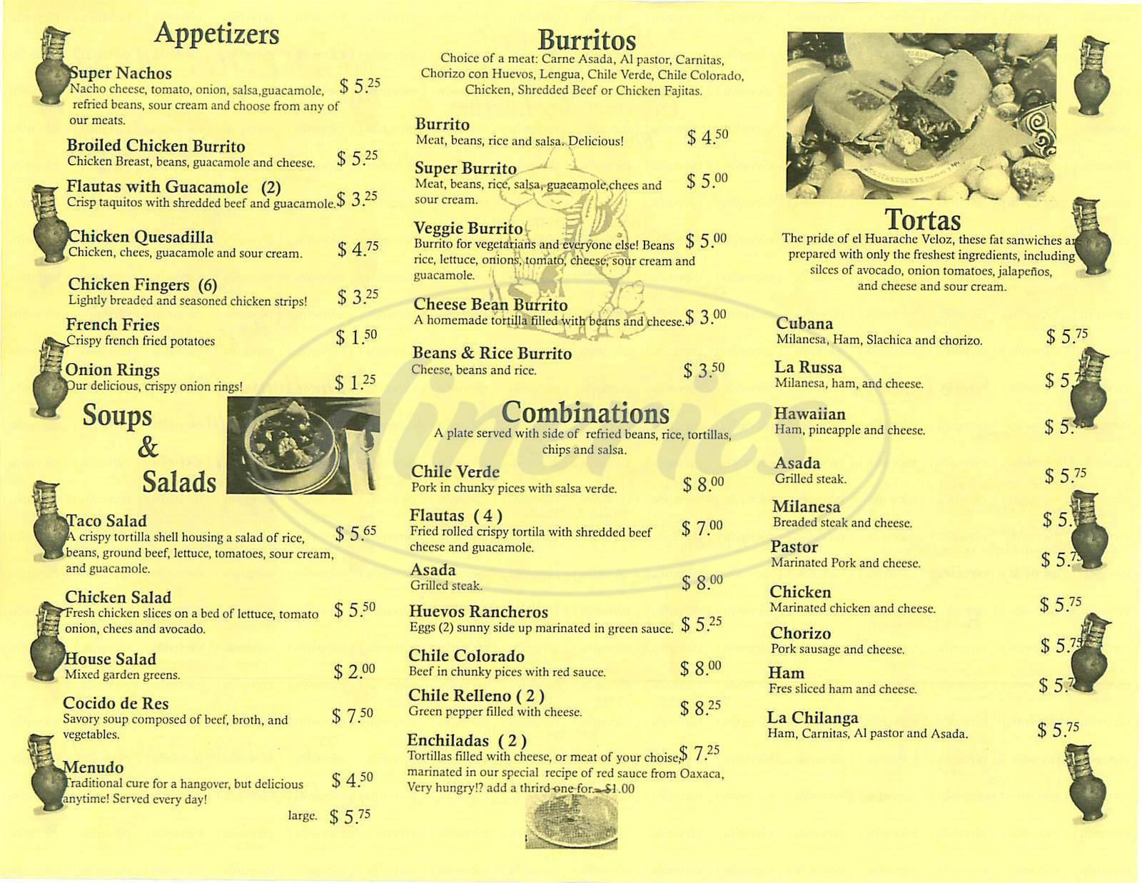 menu for Ricardos Fast Food