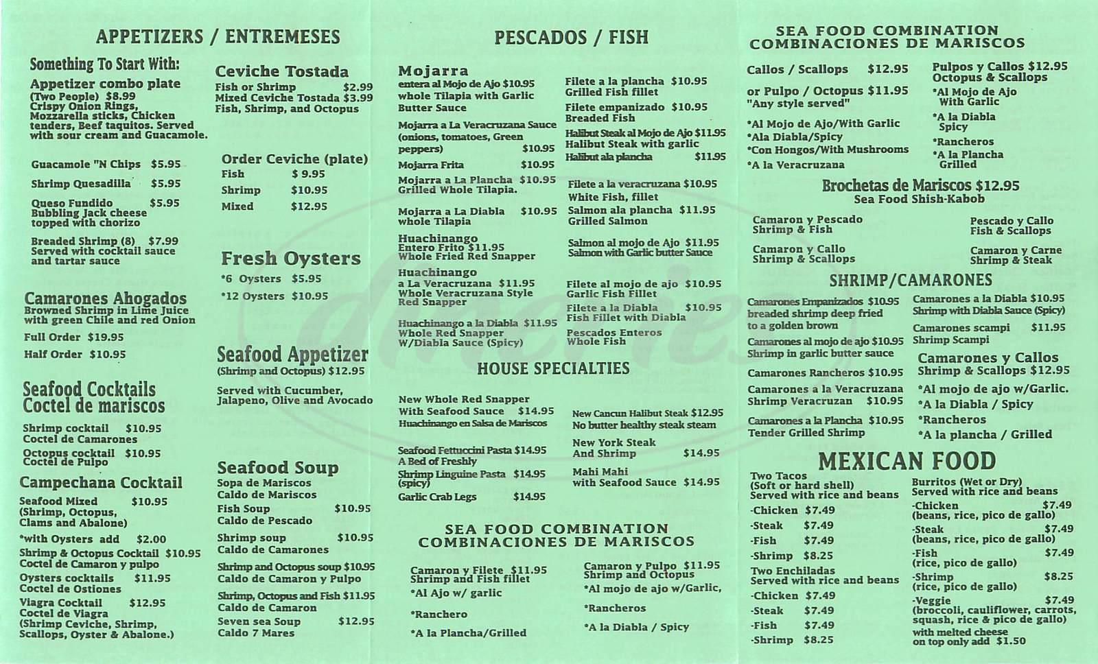 menu for Mariscos Cancun