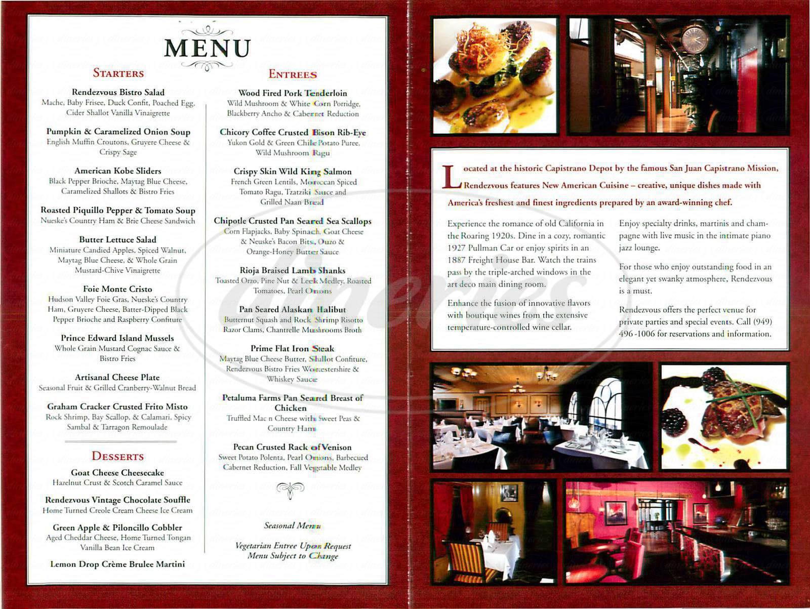Big menu for Rendezvous, San Juan Capistrano