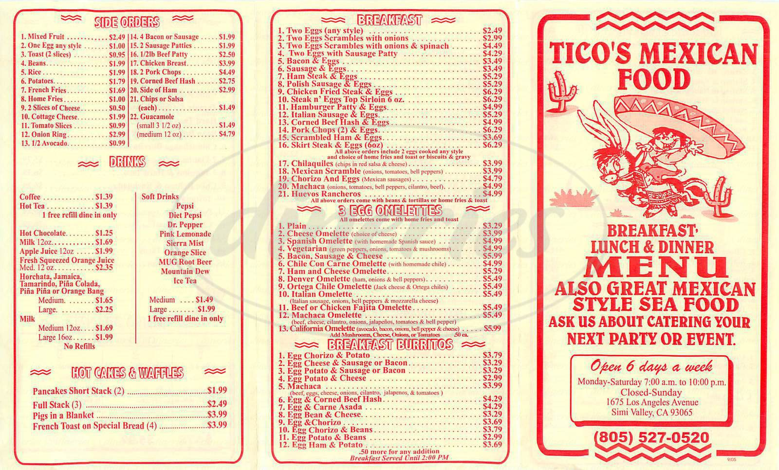 menu for Ticos Mexican Food
