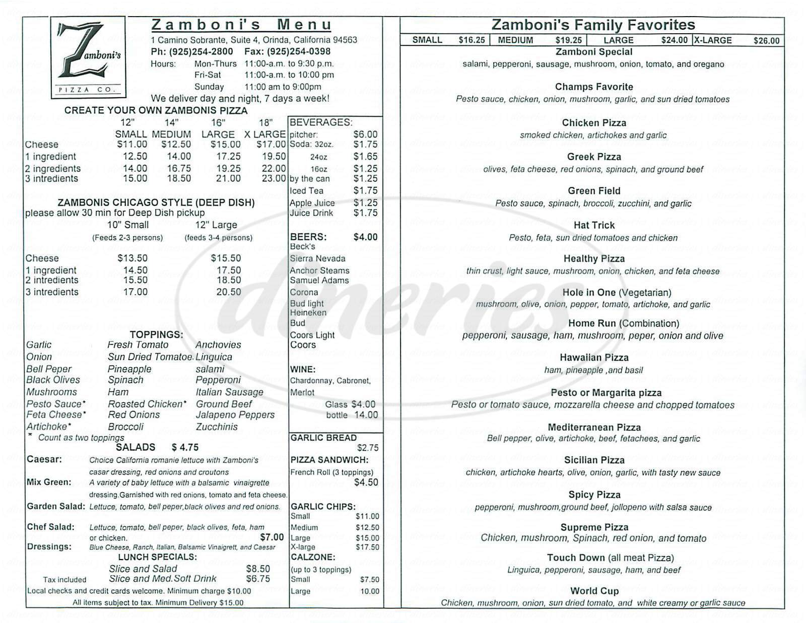 menu for Zambonis Pizza