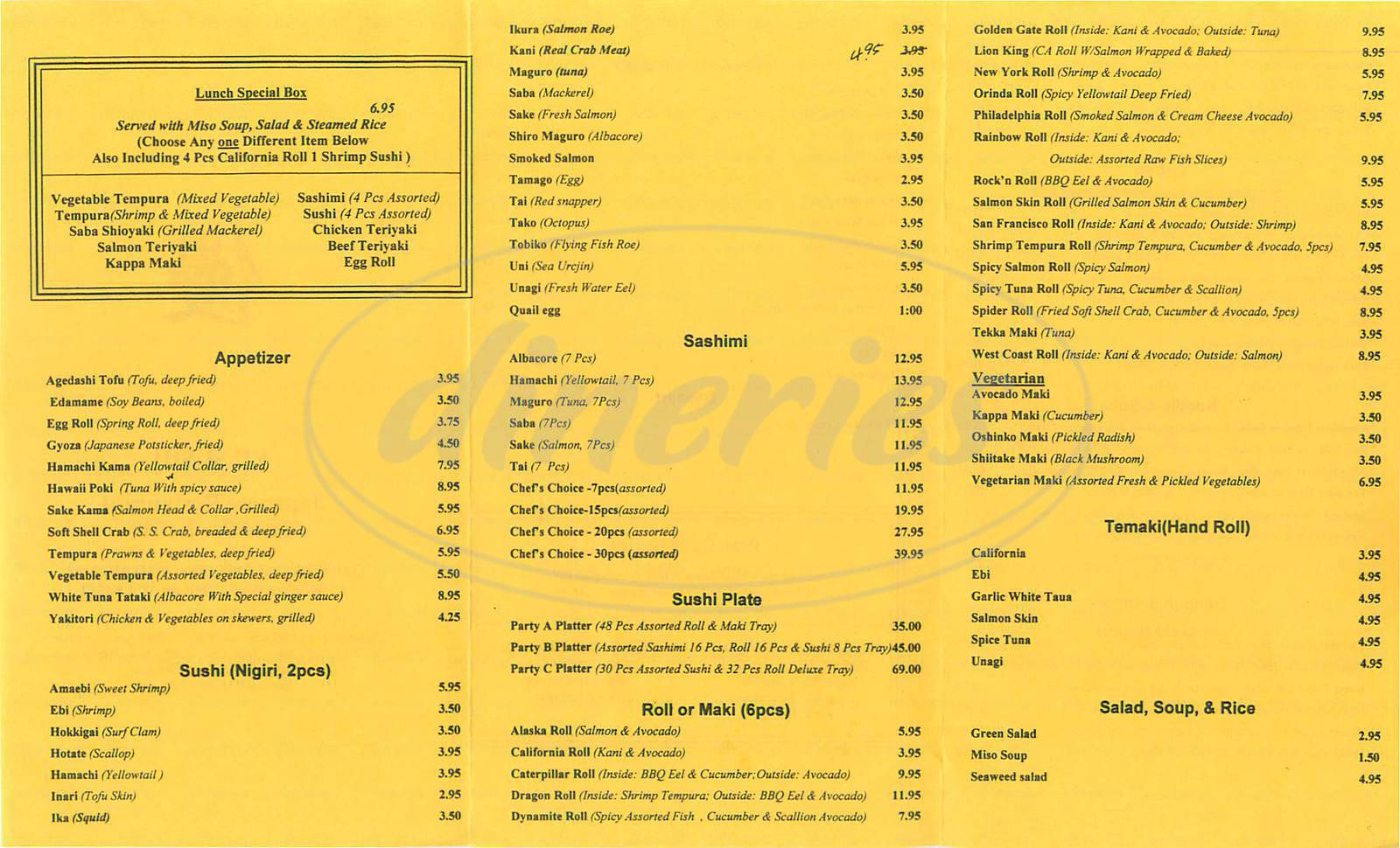 menu for Yu Sushi